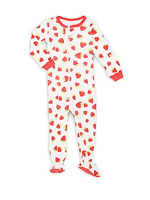 Baby's Strawberry-Printed Cotton Footie