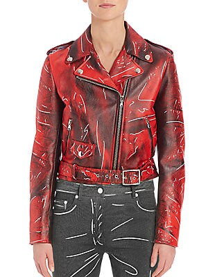 Faded Faux Leather Moto Jacket