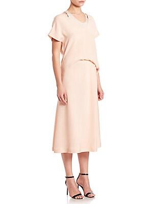 Silk Draped Waist Midi Dress