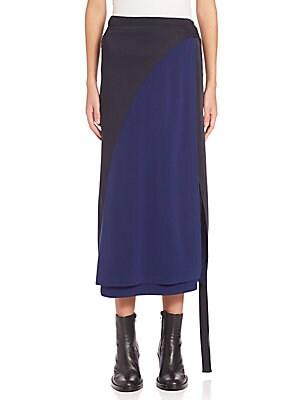 Colorblock Wrap Midi Skirt