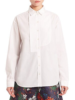 Pleated Front Poplin Button-Up