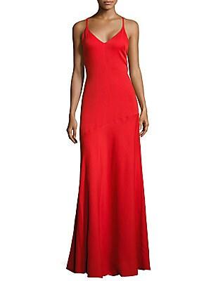 Solid V-Neck Gown