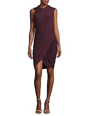 Asymmetrical Wrap Sheath Dress