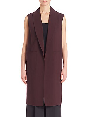 Stretch-Wool Shawl Collar Vest
