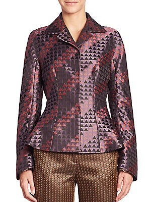 Geometric-Print Jacket