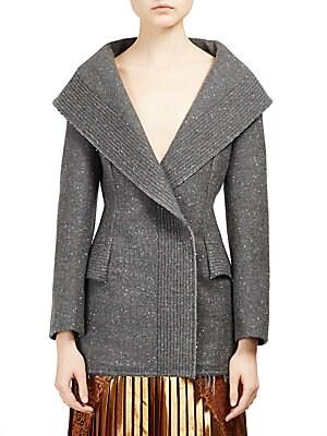Long Wool Blend Tweed Jacket