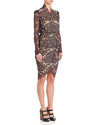 Illusion Lace Wrap Dress