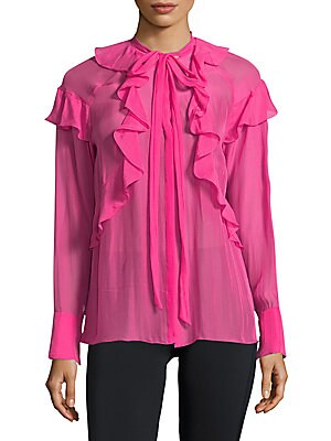 Ruffle Detail Silk Chiffon Top