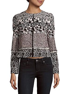 Long-Sleeve Floral Tweed Jacket