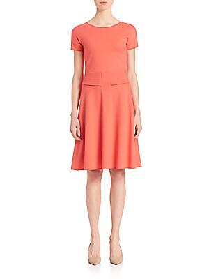 Jersey Trapunto Stitch-Waist Dress