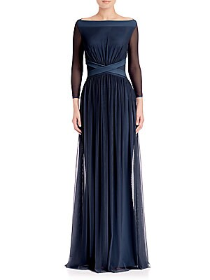 Boatneck A-Line Gown