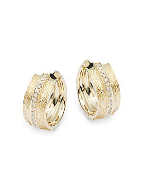 14 Kt. Yellow Gold and Diamond Hoops 0.21 CT. T.W.