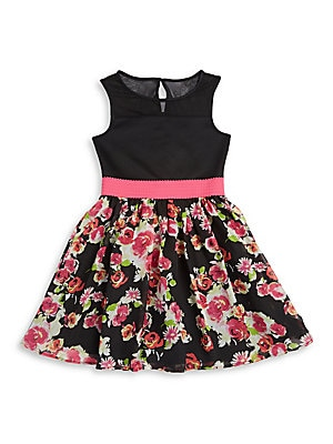 Girl's Illusion Floral Dress
