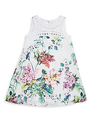 Girl's Floral Trapeze Dress