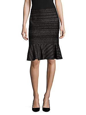 Mid-Length Metallic Pencil Skirt