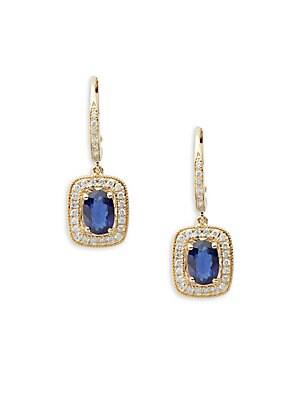 Diamond, Sapphire & 14K Yellow Gold Drop Earrings