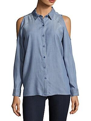 Cold-Shoulder Chambray Shirt