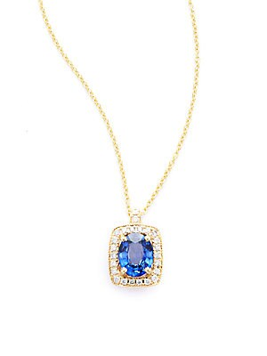 Diamond, Sapphire & 14K White Gold Pendant Necklace