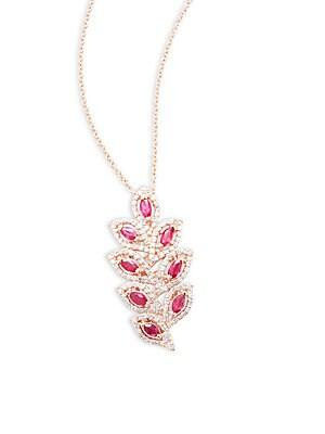 Diamond, Ruby & 14K Rose Gold Pendant Necklace