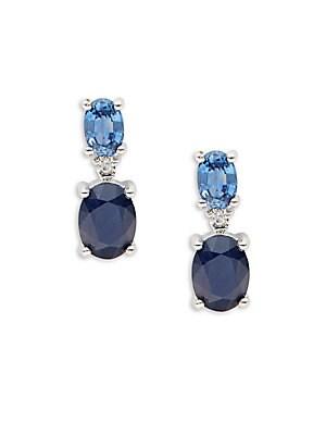 Diamond, Sapphire & 14K White Gold Earrings