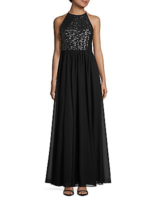 Sequined Halterneck Gown