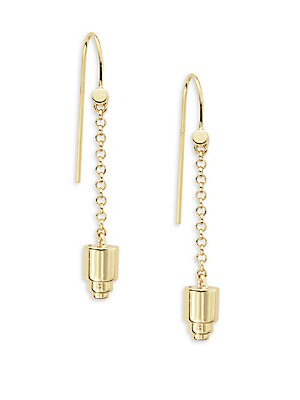 18K Gold-Plated Cylinder Pendulum Earrings