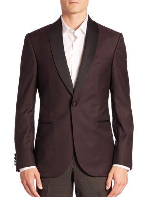 Modern Diamond-Print Shawl-Collar Tuxedo Jacket Saks Fifth Avenue