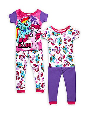 Little Girl's & Girl's My Little Pony Four-Piece Top & Pants Sleep Set