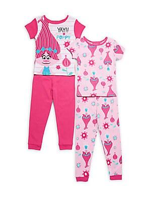 Little Girl's & Girl's Four-Piece Trolls Cotton Tee & Pants Set