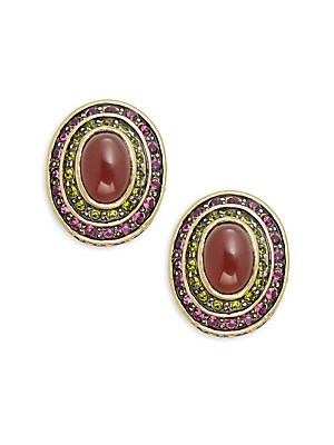 Button Cabachon Crystal & Rhinestone Earrings