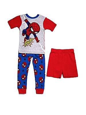 Little Boy's Spiderman Three-Piece Top Pants & Shorts Set