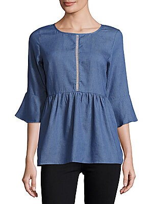 Cotton-Blend Cutout Top