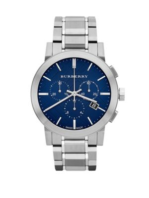 Brushed Stainless Steel Chronograph Watch Burberry