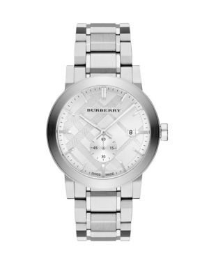 Check Stamped Stainless Steel Watch Burberry