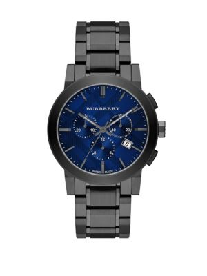 Round Stainless Steel Chronograph Watch Burberry