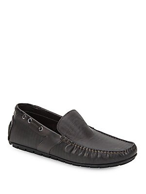 Ariston Textured Leather Driving Loafers