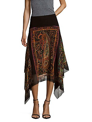 Printed Handkerchief-Hem Skirt