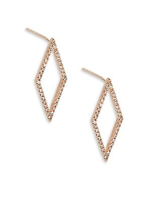 Open White Diamond & 14K Rose Gold Earrings