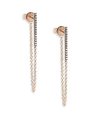 White Diamond & 14K Rose Gold Bar Chain Stud Earrings