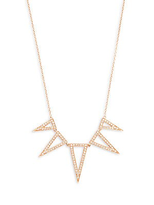 Click here for Diamond & 14K Rose Gold Triangle Necklace prices