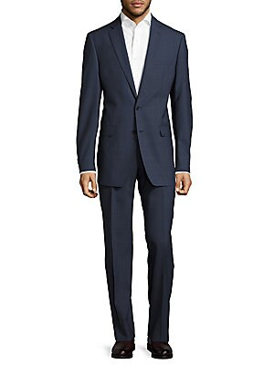 Windowpane Plaid Wool Suit