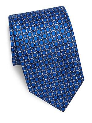 Repeating Circle Printed Silk Tie