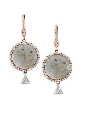 Diamond, Labradorite & 14K Rose Gold Drop Earrings