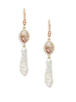 Pearl, Diamond & 14K Rose Gold Drop Earrings
