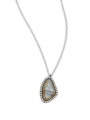 Click here for Diamond  Labradorite & 14K White Gold Pendant Neck... prices
