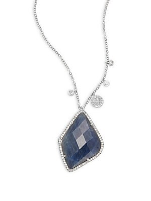 Click here for Diamond Sapphire & 14K White Gold Pendant Necklace prices