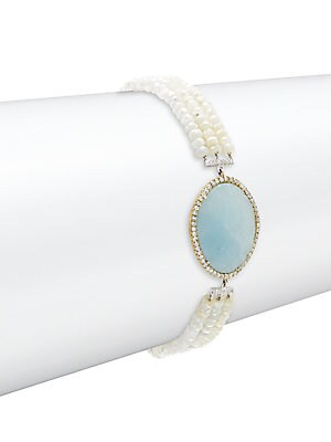 Diamond, Milky Aqua Stone, 14K Yellow Gold & Silver Bracelet