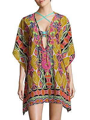 Abstract-Print Caftan Coverall