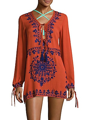 Tassel-Tie Embroidered Top