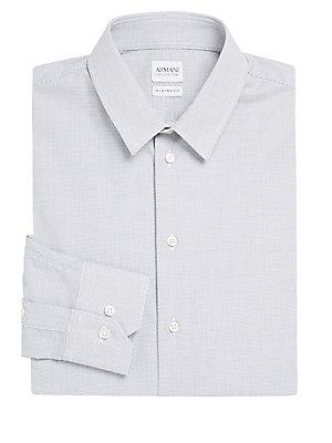 Modern-Fit Printed Cotton Dress Shirt